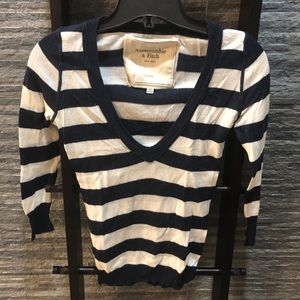 Abercrombie & Fitch Striped V-Neck Sweater